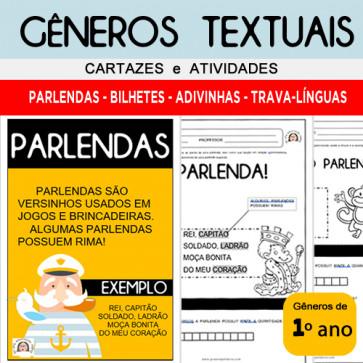 GÊNEROS  TEXTUAIS - Cartazes e Atividades - 1º ano