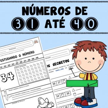 Números do 31 até o 40