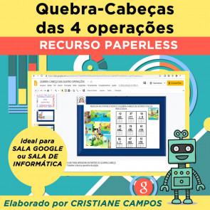 Quebra-Cabeça das QUATRO OPERAÇÕES - recurso paperless