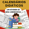 Calendários didáticos com DATAS COMEMORATIVAS