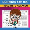 NÚMEROS até 100 - Recorte e Colagem