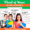 Plural of Nouns - NO PREP Worksheets